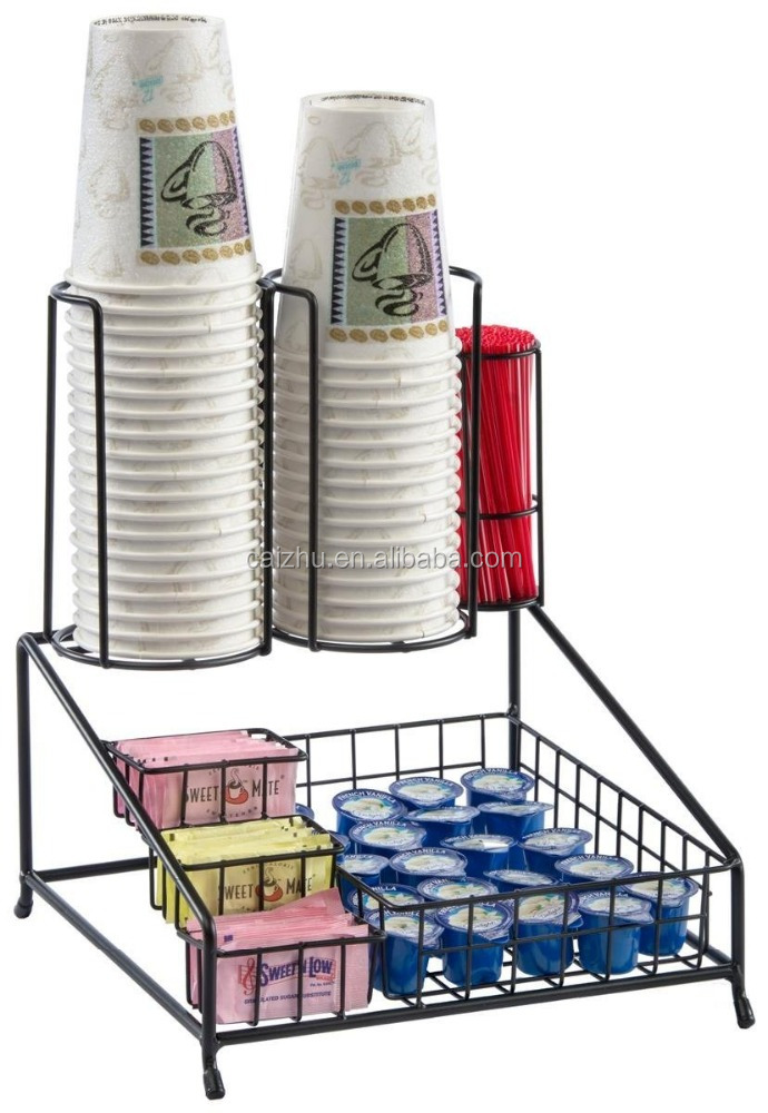 Black Steel Wire Lid and Coffee Condiment Organizer