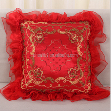 2018 Factory wholesale Custom Embroidery Pillow Case With Lace