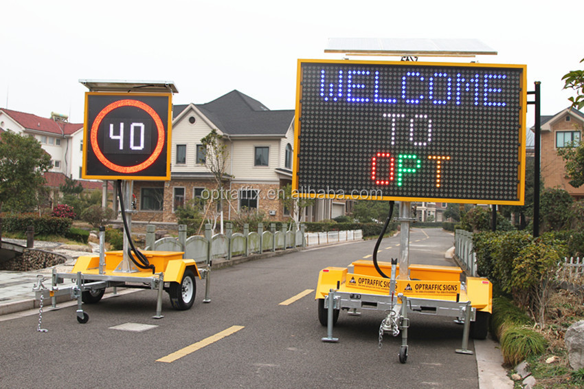 OEM Outdoor Led Speed Display Sign Mobile Solar Radar Detector Road Variable Led Speed Limit Sign Trailer