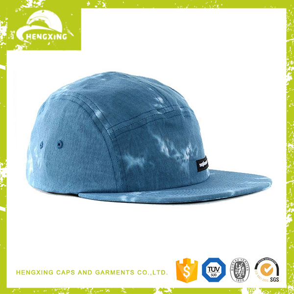 Tie-dyed jean denim custom 5 panel hat and cap