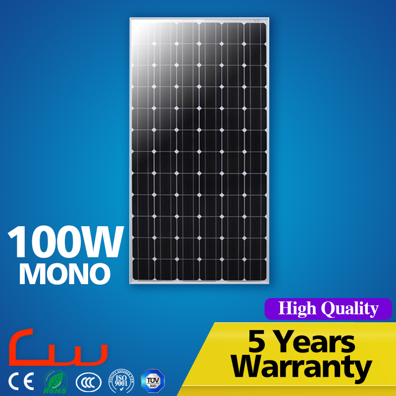 Home and commercial 5 years warranty 12v 100w solar panel