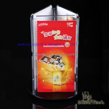 Good quality acrylic triangle display stand rotating