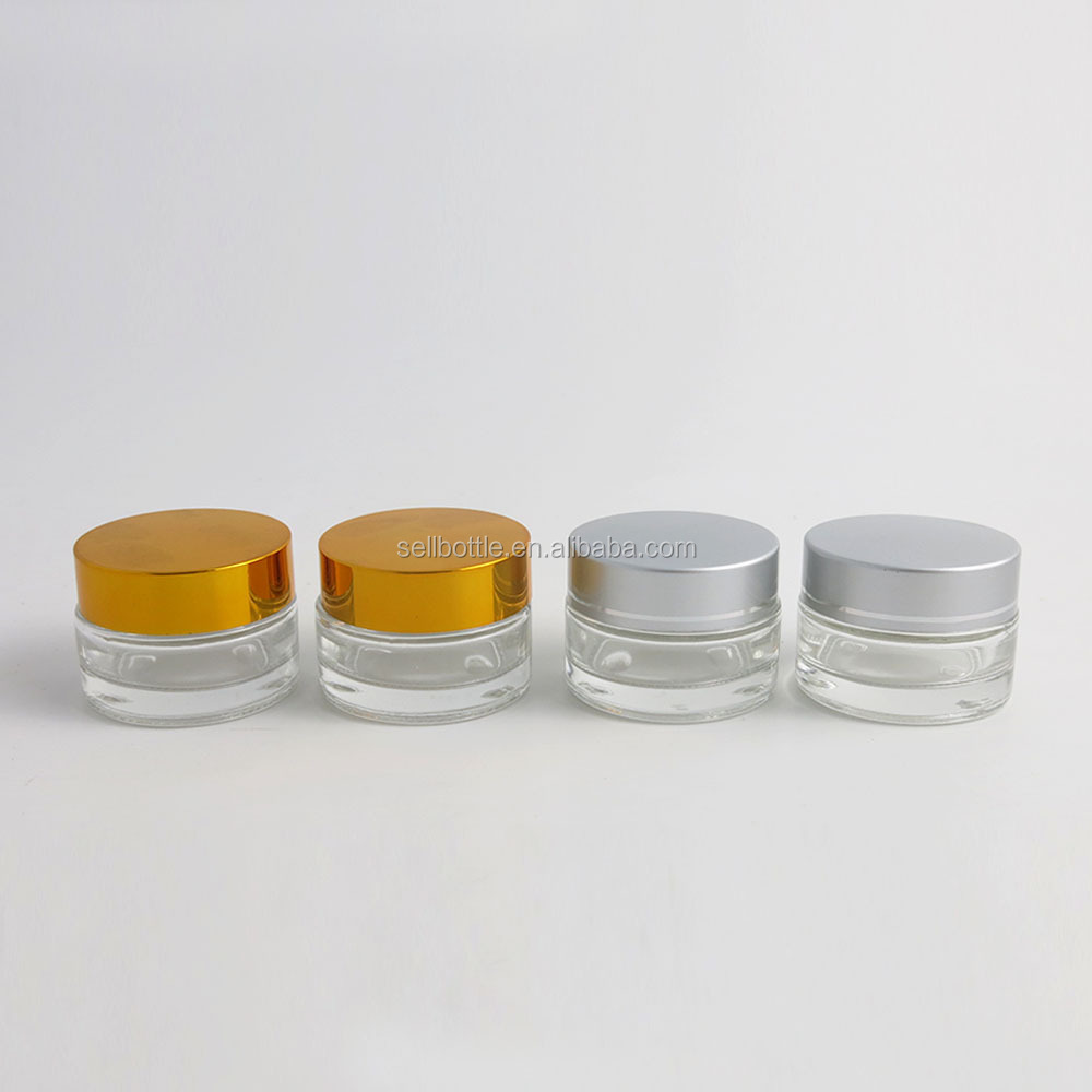Empty Cream Glass Jar 20g Clear Cosmetic Packaging For Face Use More Size Availbale