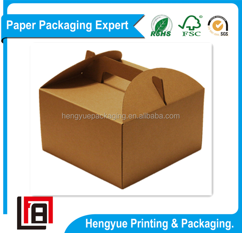 Delicate Shipping Paper Boxes Corrugated Cartons for Cakes with Die Cutting Handles