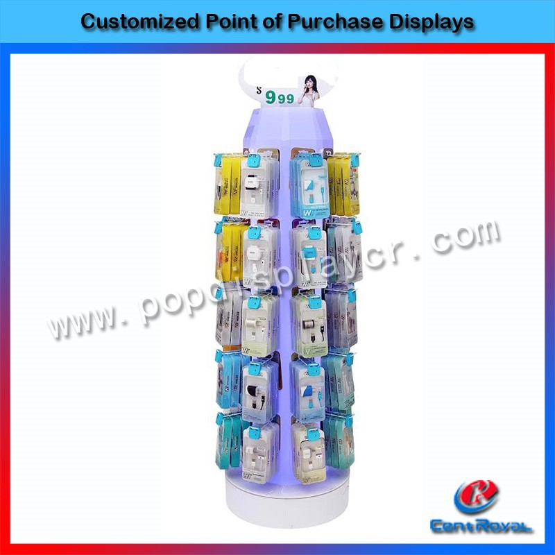 Modern high quality floor stand rotating acrylic retail charger display stand