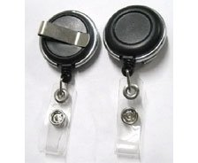 Round plastic clip-on retractable badge reels