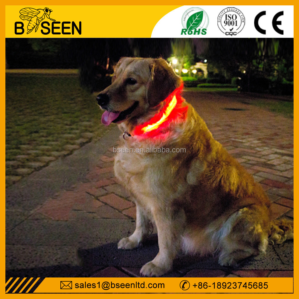 2015 unique 100% nylon flashing led dog collar for huskey