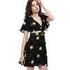 Online Shopping Ladies Fashion Clothing Vintage Chiffon Sexy Women's Flower Printing Black Crop Top Two Piece Dress