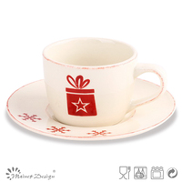 3oz Christmas stamped ceramic cup&saucer for christmas custom stoneware coffee cup with saucer