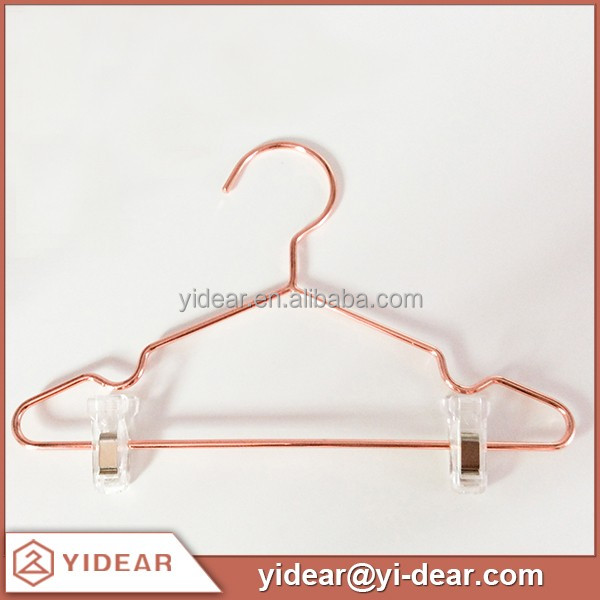 Children Rosy Gold Metal Pants Hanger with Clamps for Kids