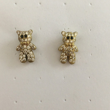 Ear Clip Women CZ Stone White Zircon Brass Stud Bear Animal Earrings With Black Eye