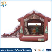2017 indoor inflatable bounce house with slide for party/christmas decorations