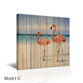 Flamingos Sea Beach Seawave Wood Board Background Canvas Painting 1 Panel Seascape Canvas Prints for Bedroom