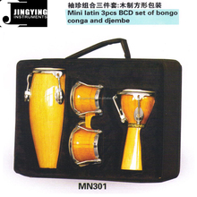 Mini latin 3pcs BCD set of bongo drums conga drums and djembe drums