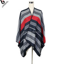 Winter Fashion Accessories Stripe Pashmina Shawl Sweater Poncho