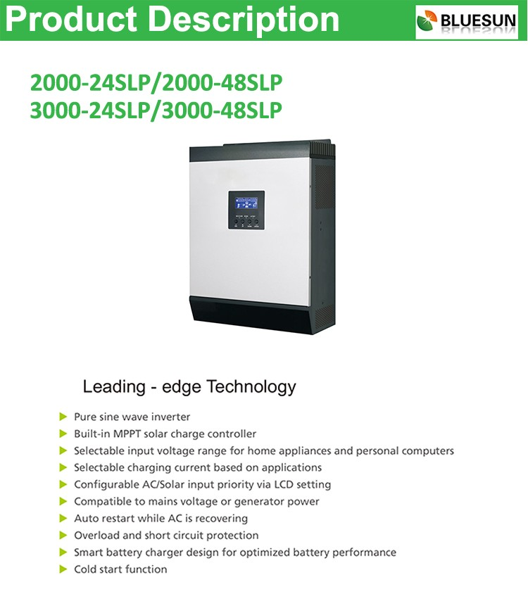 Top selling 48v 3kw solar inverter with built-in charge controller from China factory