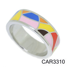 Wholesale Silver 925 Jewelry Fashion Casual Colorful Enamel Geometric Flower Shape Engagement Ring Women Rings