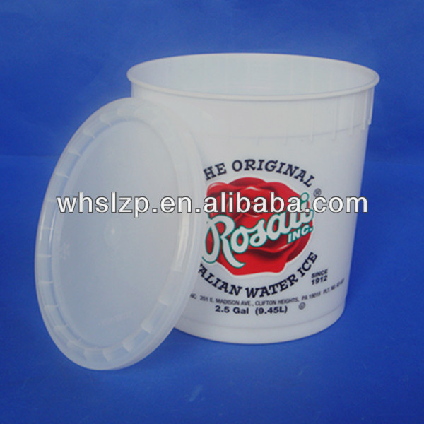 9.5L/2.5Gallon ice cream clear plastic pail without handle