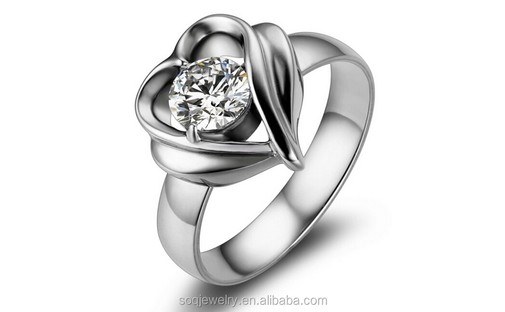SSR73 custom high quality stainless steel twist heart ring with diamond jewelry china supplies