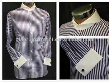 Men 39 s contrasting white cutaway collar french cuff non for White cutaway collar shirt