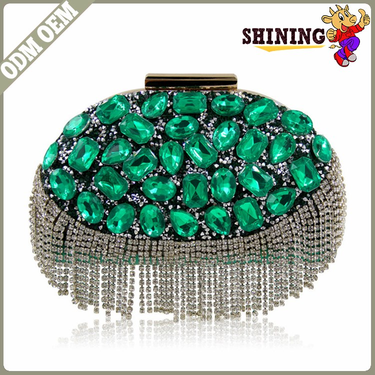 Wholesale fashion luxury handmade women crystal stone evening bag beaded night party gift bags