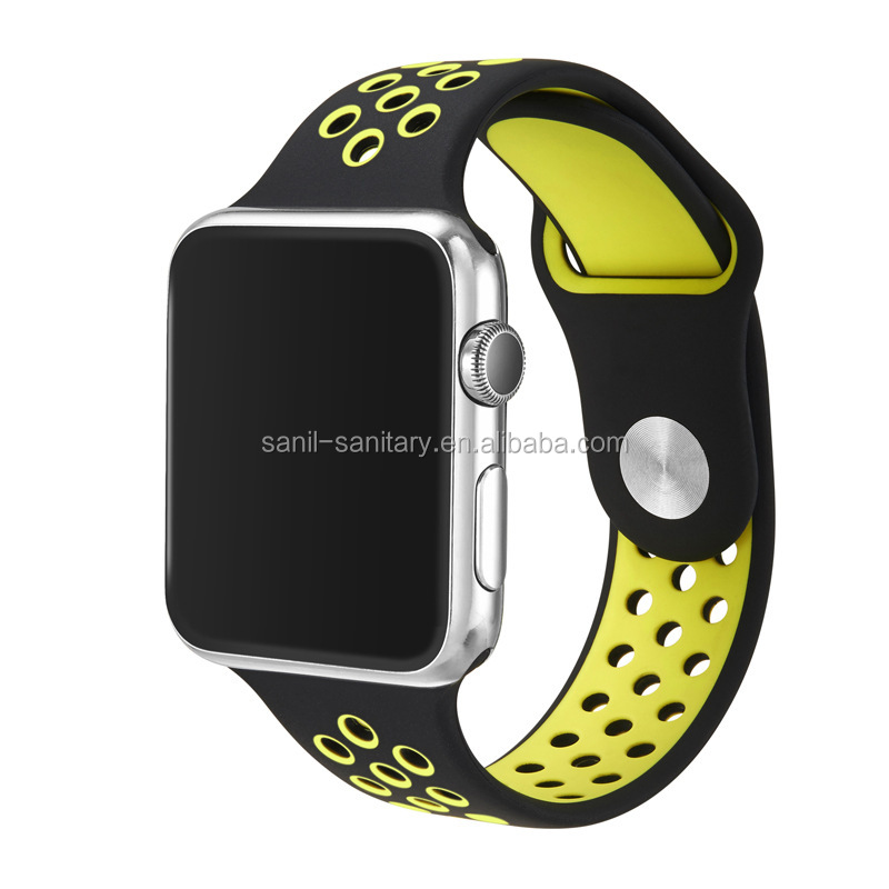 For apple watch silicone band mixed two colors watch belt for apple bands