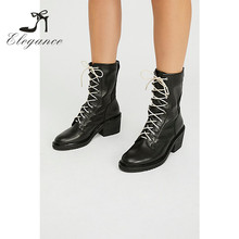 2017 Ladies Chunky Stacked Heels Rounded Toe Lace-Up Black Leather Motocycle Combat Boots Ankle Bootie Women