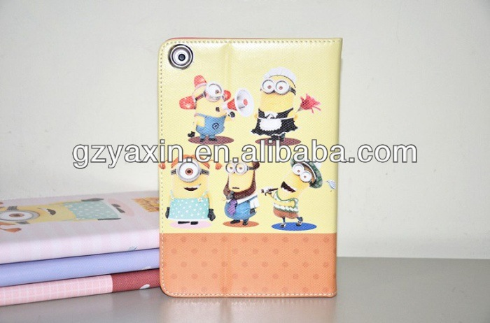 tablet case for ipad despicable me case,luxury leather case for ipad 2 3 4