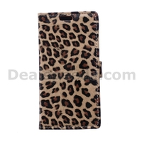 Leopard Litchi Leather Wallet Case Stand Protective Cover for Alcatel One Touch Pixi 3 4.0 OT