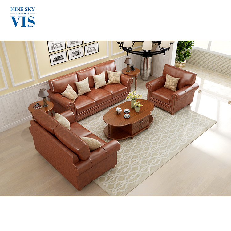 Competitive Price Solid Wood Royal Genuine Leather Sofa Set/Custom <strong>Furniture</strong>