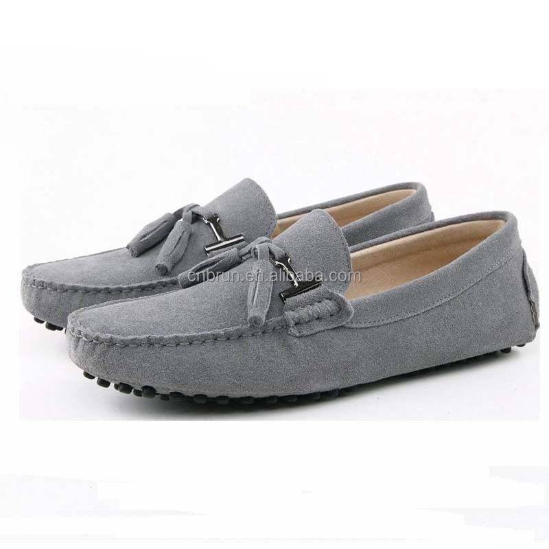Guangzhou China factory cowhide leather men black flat boat shoes