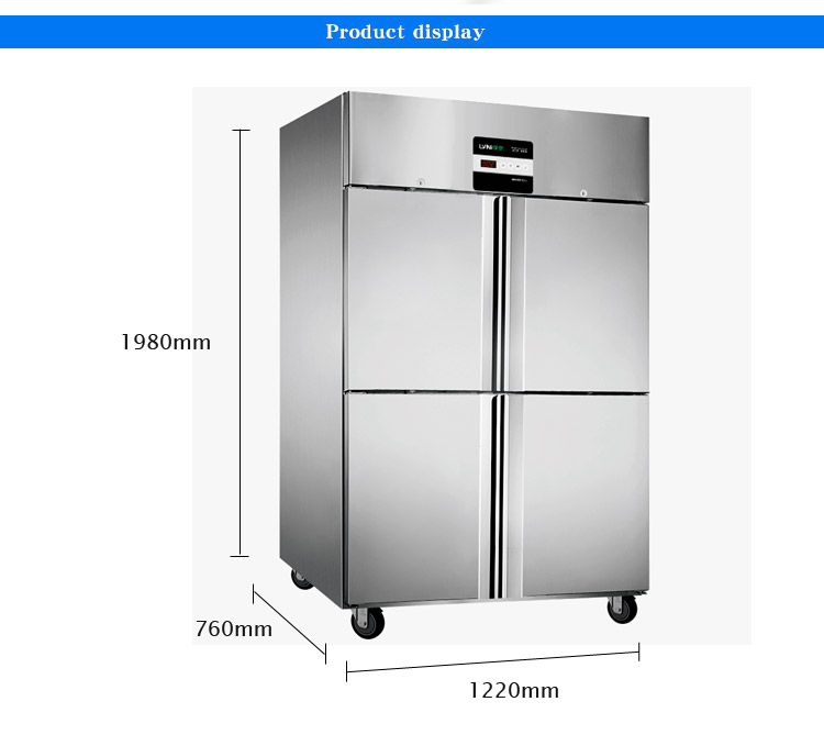 LVNI industrial commercial upright deep stainless steel 4 doors kitchen refrigerator fridge freezer with plates