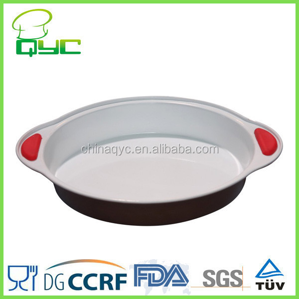 Non-stick Carbon Steel Ceramic Coating Baking Pan with Silicone Handle