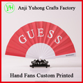 2017 Custom made advertising plastic fabric folding hand fans cheap price