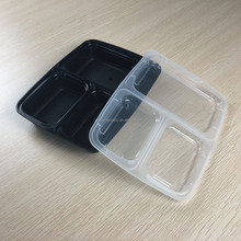 3 compartment disposable plastic food storage box / meal prep containers supplier / manufacturer