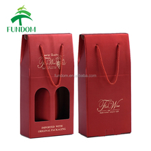 alibaba trade assurance supplier custom luxury red color double bottle corrugated cardboard wine box with hot stamping logo