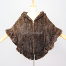 QC6013 classic real mink fur knitted poncho/ cape with hood