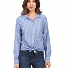 Wholesale New Fall Lightweight Cotton-Poly Blend Point Collar Front-Button Convertible Long Sleeve Classic Stripe Oxford Shirts