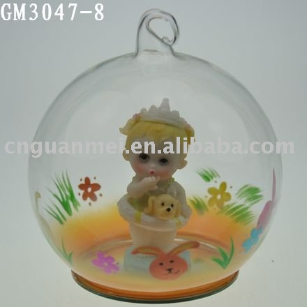 handpainted decorative glass easter egg