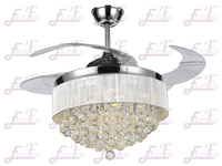 East Fan 42inch invisible Crystal Ceiling Fan with light item EF42201 Retractable ceiling fan