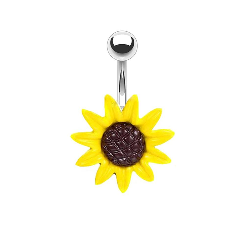 NUORO Stainless Steel Yellow Sunflower Belly Button Rings Navel Piercing Legit Body Jewelry