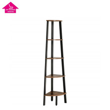Bookcase, 5-Tier Corner <strong>Shelf</strong>, Plant Stand Wood Look Accent Furniture with Metal Frame for Home and Office