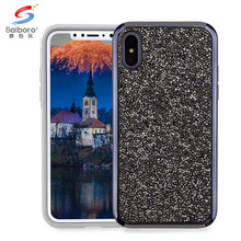 Black Diamond glitter Electroplating frame cellphone case for apple iphone x back cover diamond luxury