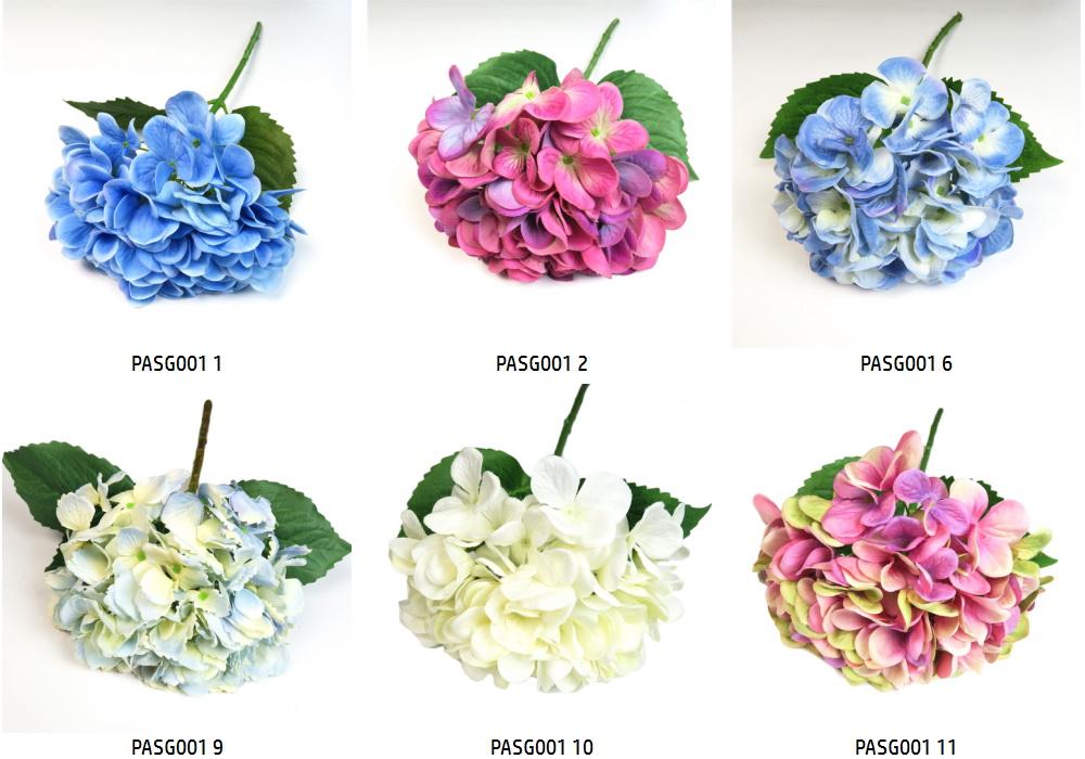 2017 Hot Selling Pink Color Silk Cheap Artificial Flowers Real Touch Hydrangea for Wedding