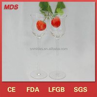 Tall flower goblet transparent champagne glass candle holder