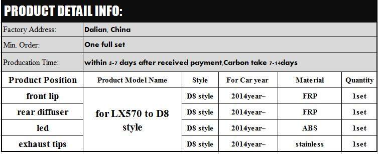 Newest D8 style for lex-us lx570 2015 year up 2016y style body kits fit for LX 570 to D8 FRP mterial full set double 8