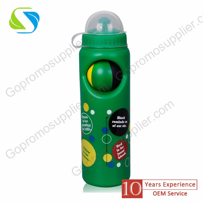 quality promotion advertising logo print custom plastic sport drink water stress ball bottle