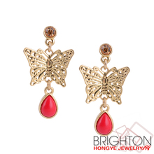 Red Big Dangle Butterfly Earrings D22251-1840