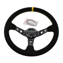 14inch OMP Deep Corn Suede Leather wrap Drifting Steering Wheel