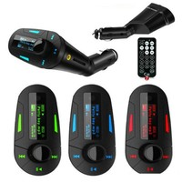 2016 Blue red green electronics Car Kit MP3 Player Wireless FM Transmitter Modulator audio MMC remote control rty DHL Free